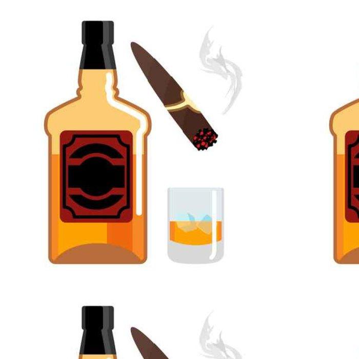 Vinylová Tapeta Whisky a led. Gentleman set. Láhev whisky. Doutník a kouře - Pití