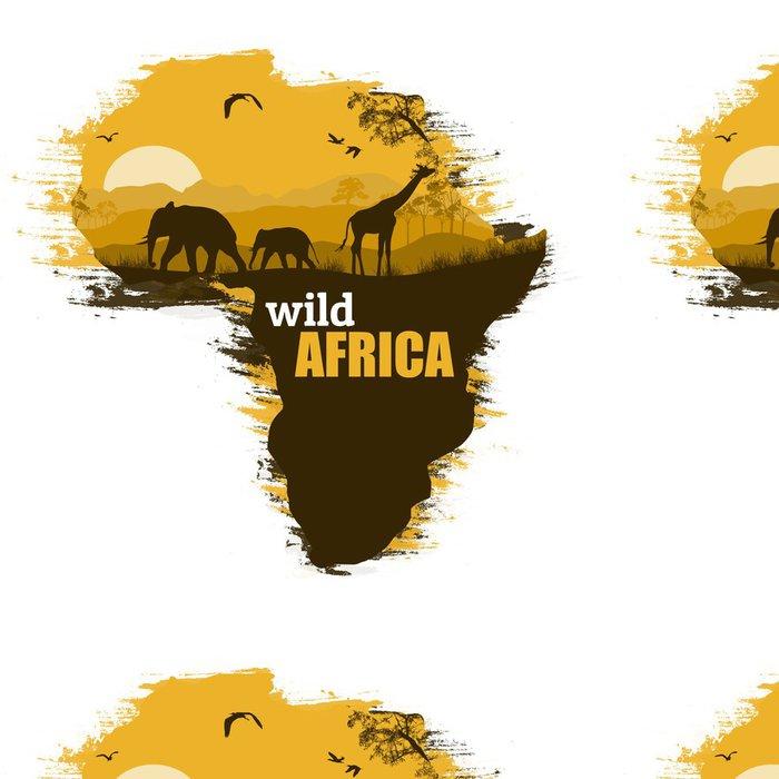 Tapeta Pixerstick Wild Africa grunge plakát pozadí, vektorové ilustrace - Pozadí