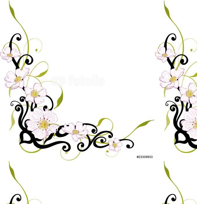 Vinylová Tapeta Wild Rose, Rosen, Ranke, květinový, Blumen, filigránové - Květiny