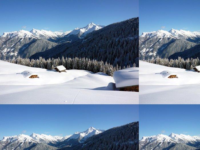 Tapeta Pixerstick Winterlandschaft mit eingeschneiten Almhütten - Prázdniny