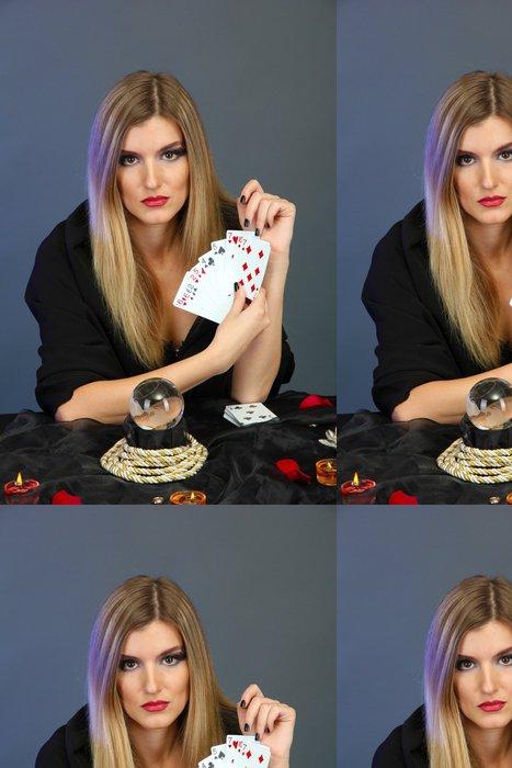 Vinylová Tapeta Witch - kartářka na barevném pozadí - Žena