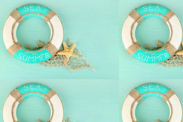 Vinylová Tapeta Záchranný kruh na modrém pozadí - Doplňky a věci
