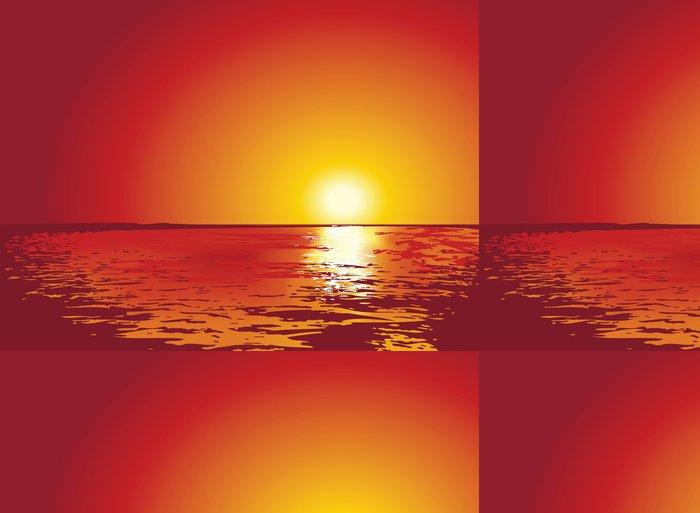 Tapeta Pixerstick Západ nebo východ slunce na moři, ilustrace - Pozadí