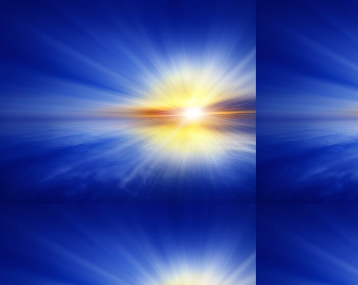 Tapeta Pixerstick Západ slunce na otevřeném moři, abstraktní modré pozadí - Nebe
