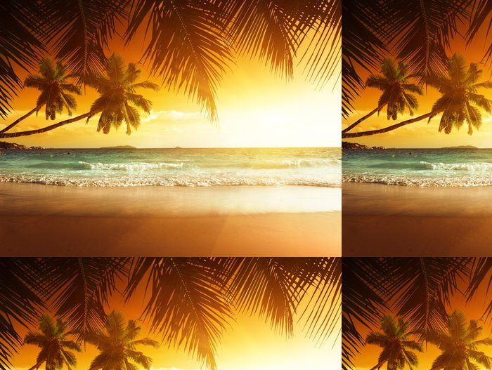 Tapeta Pixerstick Západ slunce na pláži Karibského moře - Témata