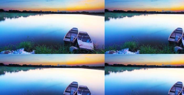 Tapeta Pixerstick Západ slunce na rybníku - Příroda a divočina