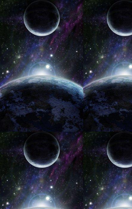 Tapeta Pixerstick Západ slunce se dvěma modré planetě - Vesmír