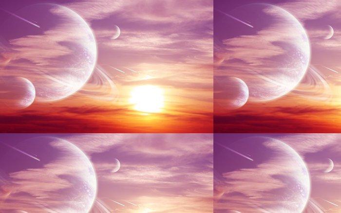 Vinylová Tapeta Západ slunce v cizí planety - Meziplanetární prostor