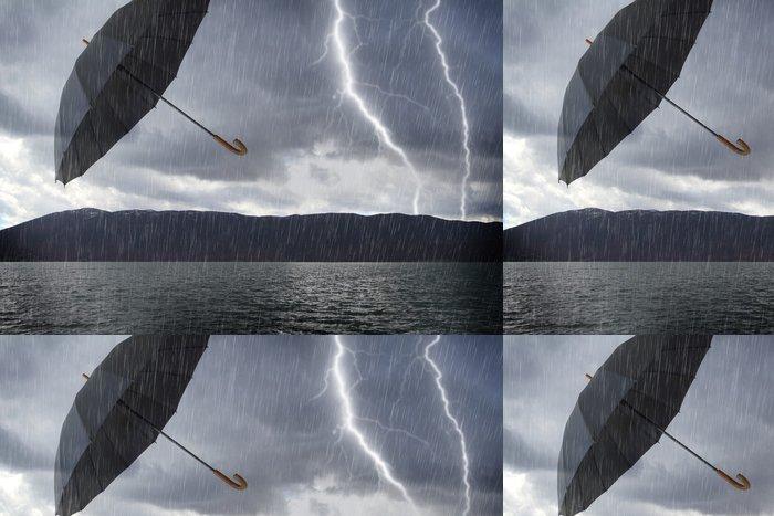 Tapeta Pixerstick Zaplavené bouřlivé krajiny a létající deštník ve vzduchu - Ekologie