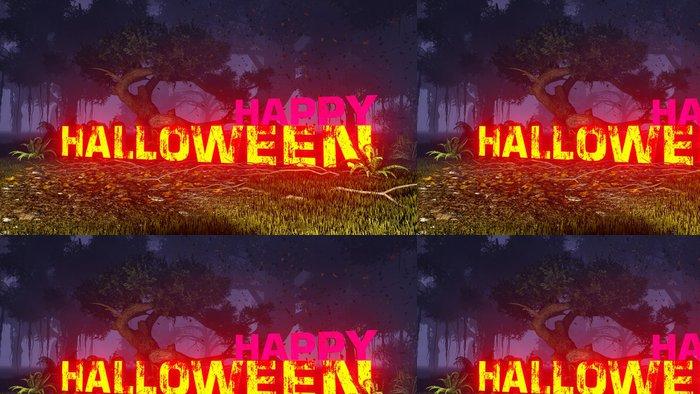 Tapeta Pixerstick Zářící Halloween text v temném lese 3 - Mezinárodní svátky