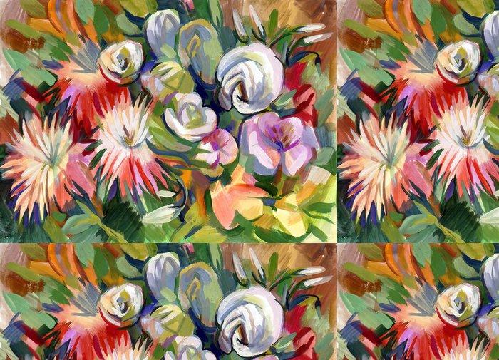 Tapeta Pixerstick Zátiší kytice květin. Ručně kreslená v kvaš - Umění a tvorba