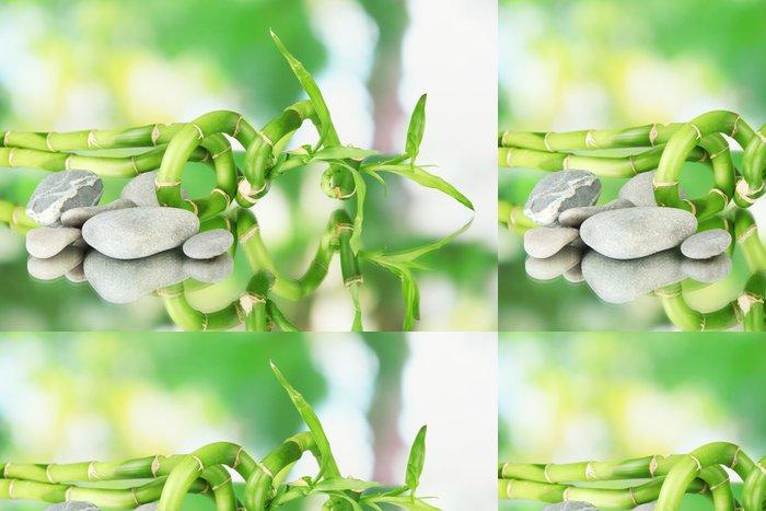 Tapeta Pixerstick Zátiší se zeleným bambusové rostliny a kameny, - Jiné objekty