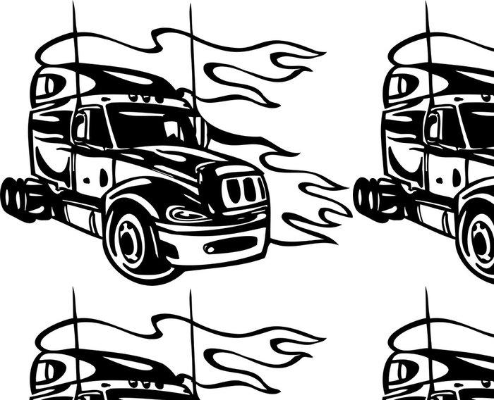 Tapeta Pixerstick Závodní Nákladní automobily se zahrnutím plameny a domorodců. - Na cestě