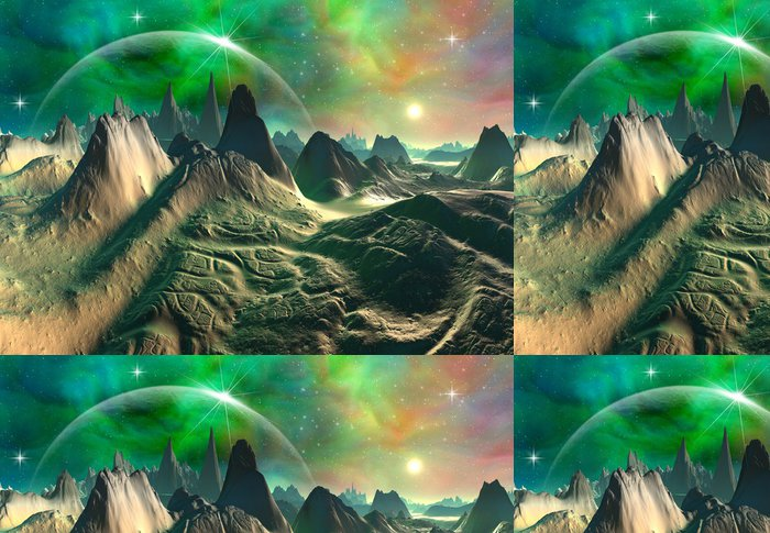 Tapeta Pixerstick Zelená Fantasy Planet - Hory