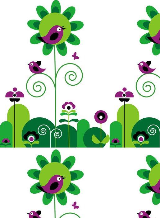 Vinylová Tapeta Zelené a fialové květy s víry s motýlů a ptáků - Roční období