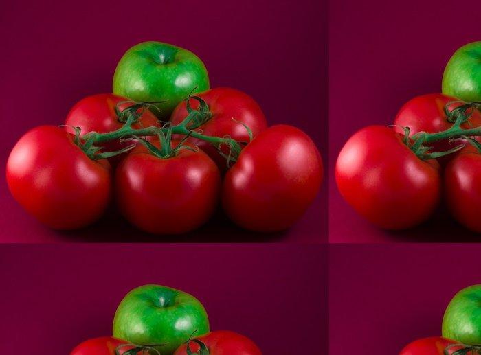 Tapeta Pixerstick Zelené jablko a rajčata na červenou - Témata