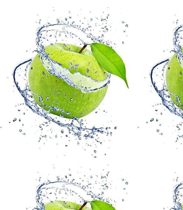 Vinylová Tapeta Zelené jablko s stříkající vodě, izolovaných na bílém pozadí - Voda