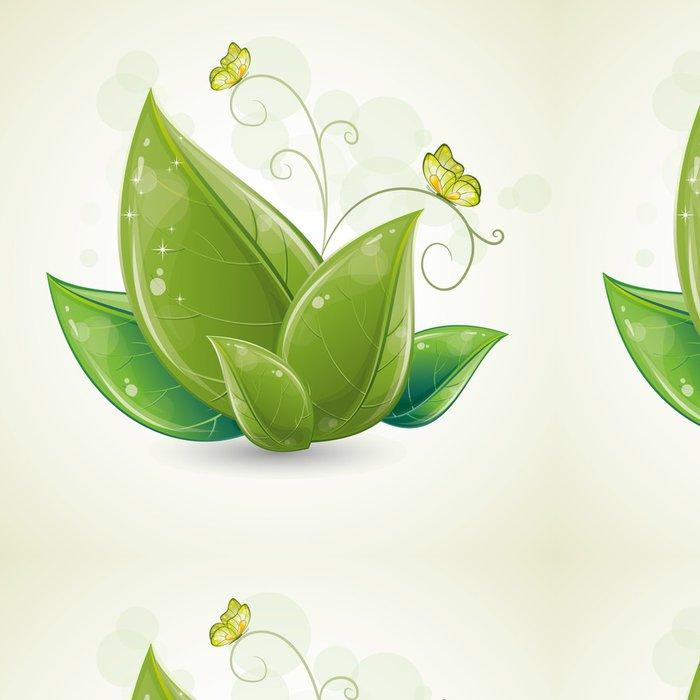 Tapeta Pixerstick Zelené listy design s motýly - Témata