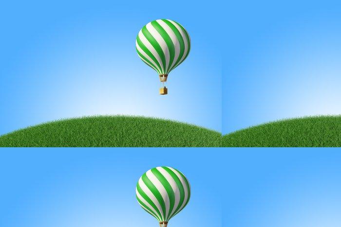 Vinylová Tapeta Zeleno-bílá Hot Air Balloon na modré obloze - Vzduch