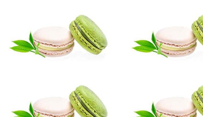 Tapeta Pixerstick Zelený čaj macarons na bílém pozadí - Jídlo