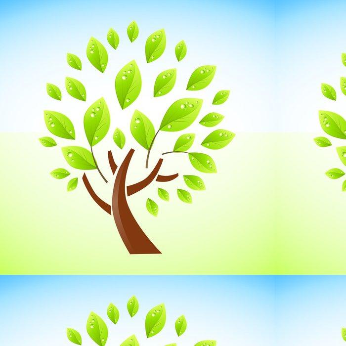 Vinylová Tapeta Zeleným čerstvým strom vektorové ilustrace. - Stromy