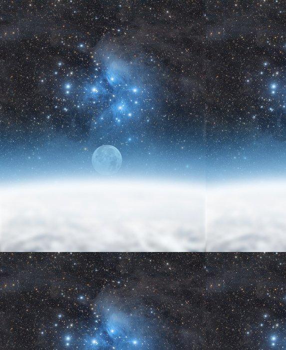 Tapeta Pixerstick Země a Měsíc se hvězdném pozadí. - Meziplanetární prostor