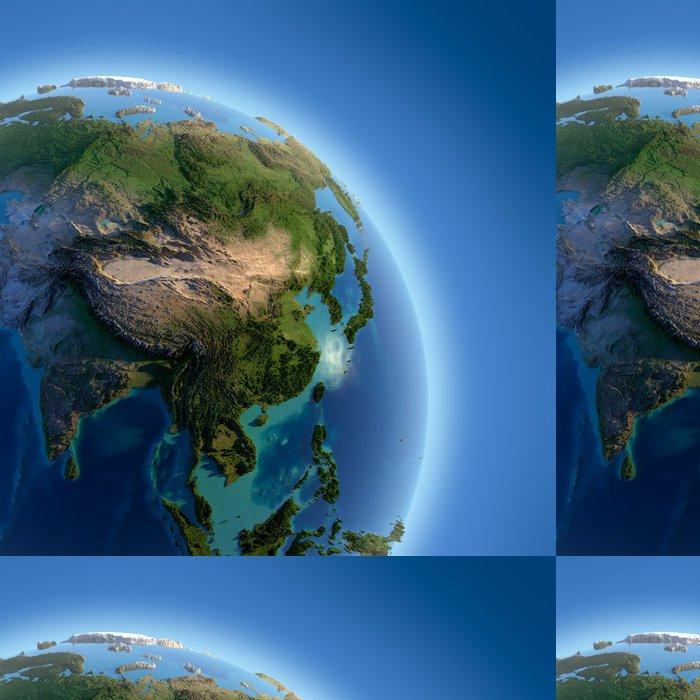 Tapeta Pixerstick Země s vysokým úlevou, osvětlena sluncem - Asie