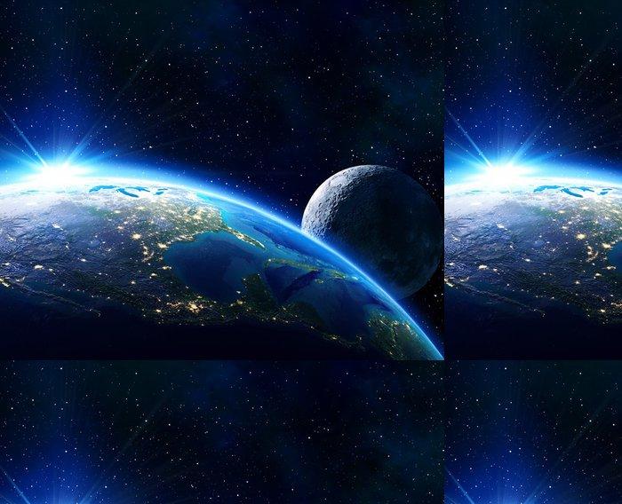 Vinylová Tapeta Země Usa, horizont a měsíc - Vesmír