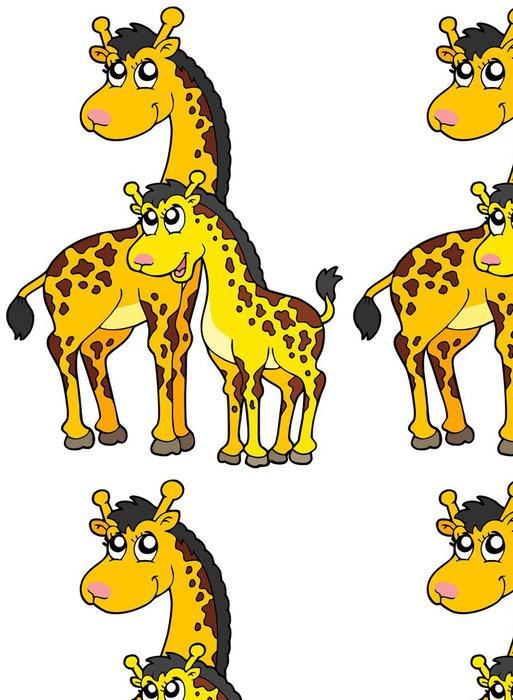 Tapeta Pixerstick Žena a dítě žirafy - Nálepka na stěny