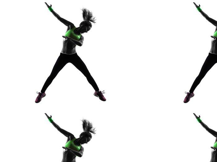 Tapeta Pixerstick Žena cvičení fitness zumba tanec skákání siluetu -