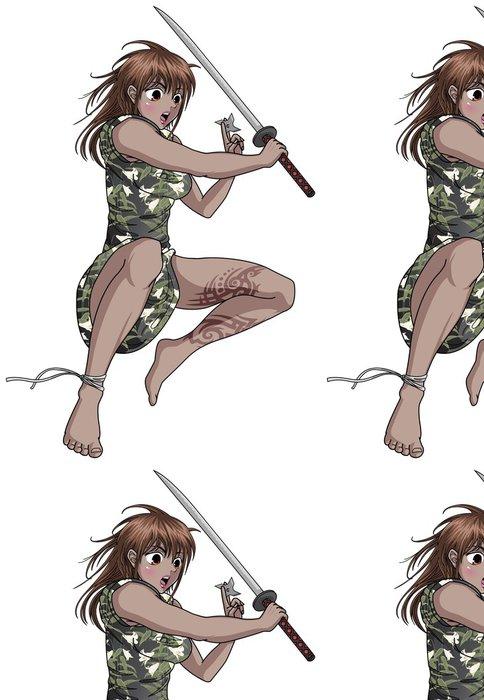 Tapeta Pixerstick Žena Ninja holding Katana a Shuriken - Nálepka na stěny