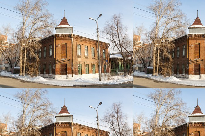 Tapeta Pixerstick Zimní Omsk. ulice a staré domy - Asie