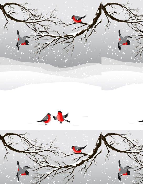 Vinylová Tapeta Zimní pozadí s ptáky hýl -