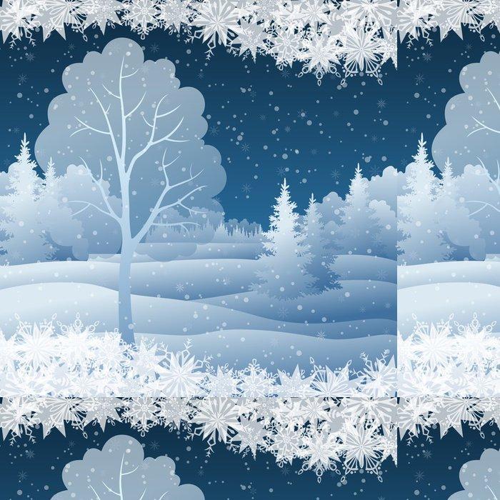 Tapeta Pixerstick Zimní vánoční krajina se stromem - Mezinárodní svátky