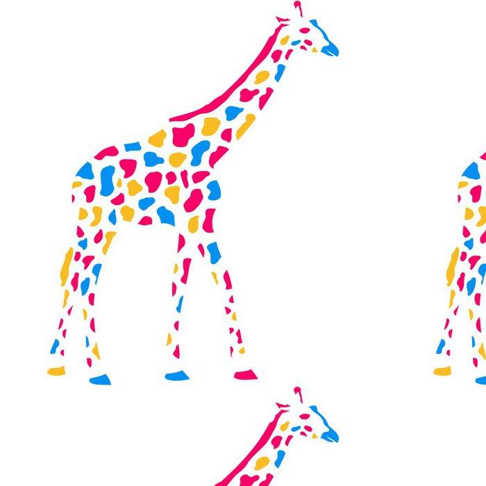 Tapeta Pixerstick Žirafa Afrika Savanne Bunte Farbe gehen Muster design - Značky a symboly