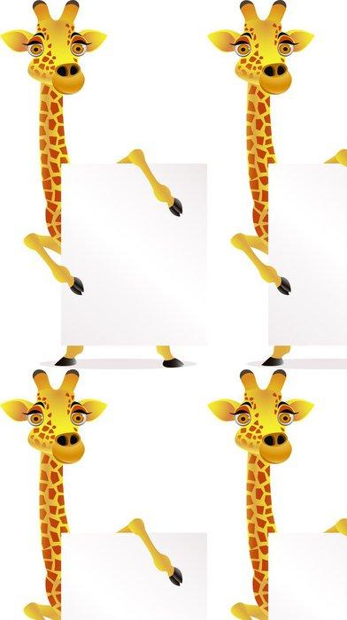 Tapeta Pixerstick Žirafa karton a prázdný znak - Savci