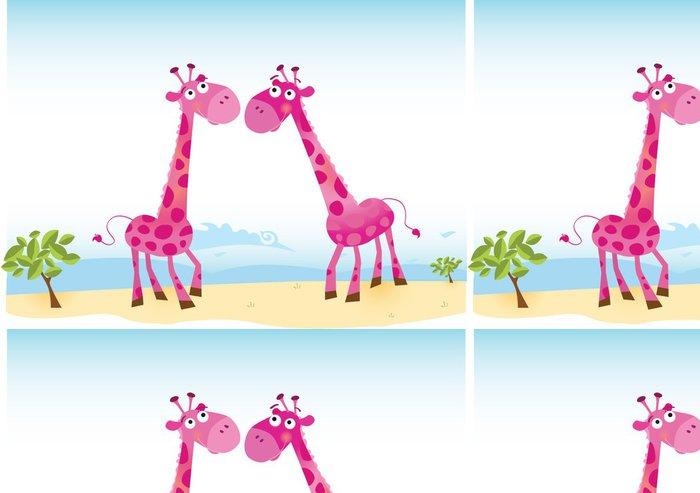 Tapeta Pixerstick Žirafy v lásce. Vektorové ilustrace (v ceně ai, eps). - Štěstí