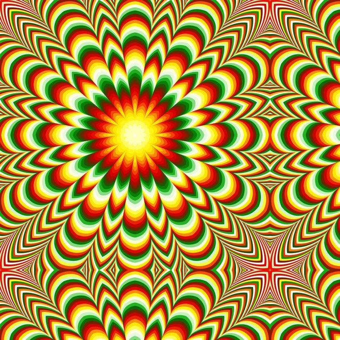 Tapeta Pixerstick Živé květiny mandala s optický klam účinkem - Témata