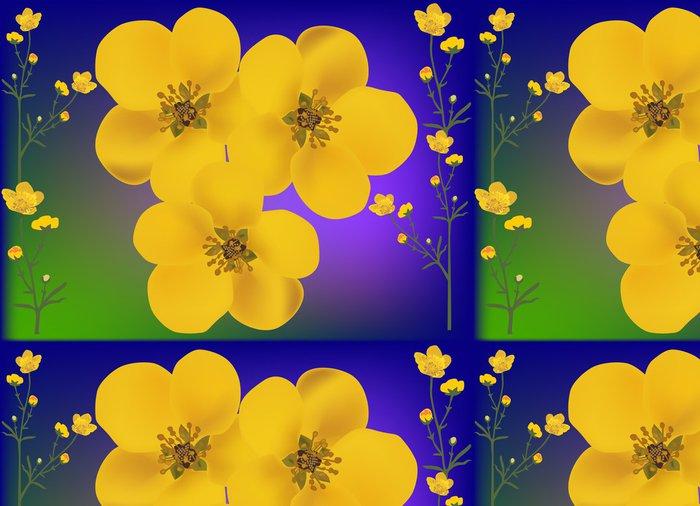 Tapeta Pixerstick Zlatá pryskyřník květiny ilustrační - Květiny