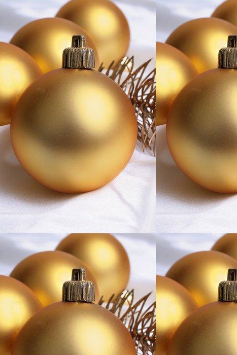 Vinylová Tapeta Zlaté koule a vánoční strom na bílém pozadí - Mezinárodní svátky