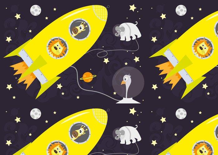Vinylová Tapeta Žlutá raketa a zvířat ve vesmíru, horizontální - Vzduch