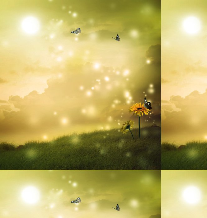 Tapeta Pixerstick Žluté gerbery s motýly v fantazie kopce - Jiné pocity