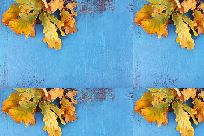 Vinylová Tapeta Žluté listy na modrém dřevěném pozadí - Značky a symboly