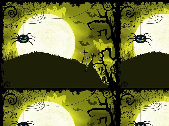 Tapeta Pixerstick Žlutozelená Halloween pozadí s strašidelné pavouk - Mezinárodní svátky