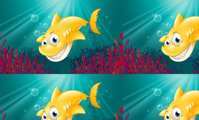 Tapeta Pixerstick Žlutý žralok s úsměvem pod mořem - Vodní a mořský život