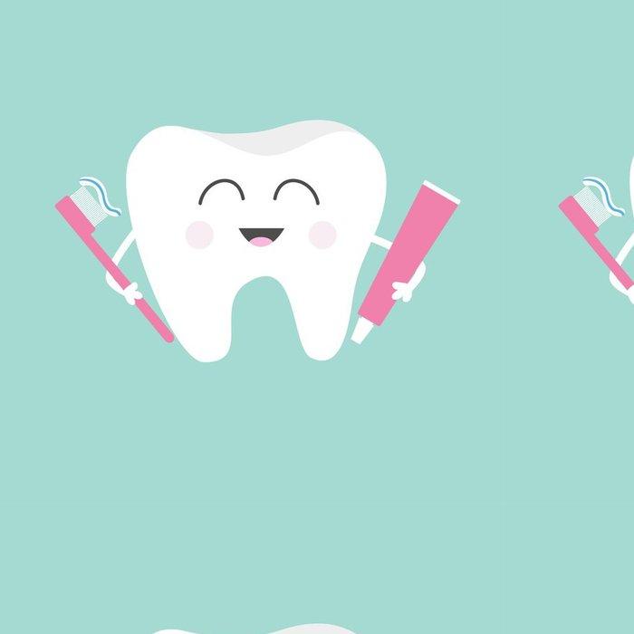Tapeta Pixerstick Zub drží zubní pastu a kartáček na zuby. Cute funny cartoon úsměvem charakter. Dětské zuby ikona péče. Oral dentální hygieny. Zubní zdraví. Pusinka pozadí. Plochá konstrukce. - Věda