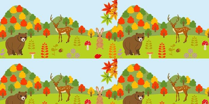 Tapeta Pixerstick Zvířata v lese na podzim - Roční období