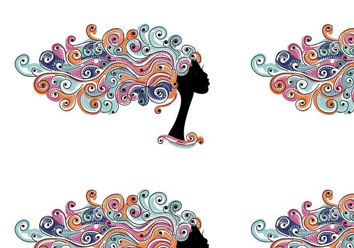 Vinylová Tapeta Zvlněný účes, žena hlava pro svůj design - Části těla