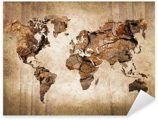 Carte du monde bois, tekstuuri vuosikerta Pixerstick Tarra