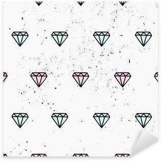 Käsin piirrettyjä timantteja saumaton malli Pixerstick Tarra